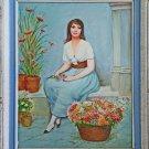 Outsider Folk Art Vintage Original Painting Blue Eye Beauty Tiny Feet Flowers