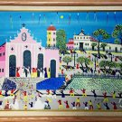 Folk Art Naive Painting Venezuela Modernist Original Carrera de Bicicleto Palma