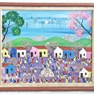 Vintage Mid Century Original Folk Art Painting Venezuela Feather Dancers Palma