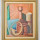Folk Art Vintage Original Painting Hunting Horn Garbage Pail Thermos Voytko