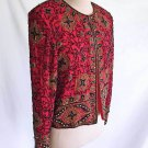 Dead Stock Vintage Sequin Beads Studs Jacket Papell Long Line Silk Evening Red S