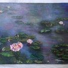 Vintage Original Naive Painting Blooming Lilly Pad Flowers Swamp Marsh Gray