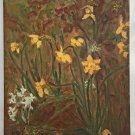 Naive Folk Art Vintage Original Painting Field of Daffodils Floral Flowers Hoyt