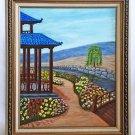Folk Art Outsider Naive Original Painting Japan Tea House Flowers WIllow Astern