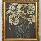Floral Southern Vintage Original Painting Lillies Flower Gothic Botany Marcher