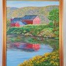Folk Art Primitive Vintage Original Painting C Warner Dairy Farm Detailed Barn