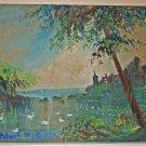 Vintage Original Folk Art Painting  Castle Swan Lake Landscape Romantic Paterson