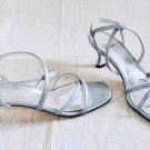 Stuart Weitzman Silver Strappy Kitten Sandal Shoes Cage Wrap 7 Vintage Roman