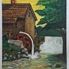 Folk Art Vintage Original Painting Watermill  Water Wheel Cascade Strannino