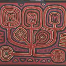 Mola Tree of Life Kuna Indian Vintage Framed Panama Red Purple Green Yellow Big
