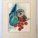 Modernism Vintage Original Painting Still Life Apples Basket Watercolor Fisher