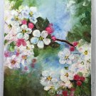 Vintage Original Folk Art Naive Painting Apple Blossoms Flowers Tree Botanical