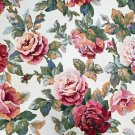 Interior Fabric Design Vintage Heavy Upholstery Fabric English Roses  2+Yard NOS