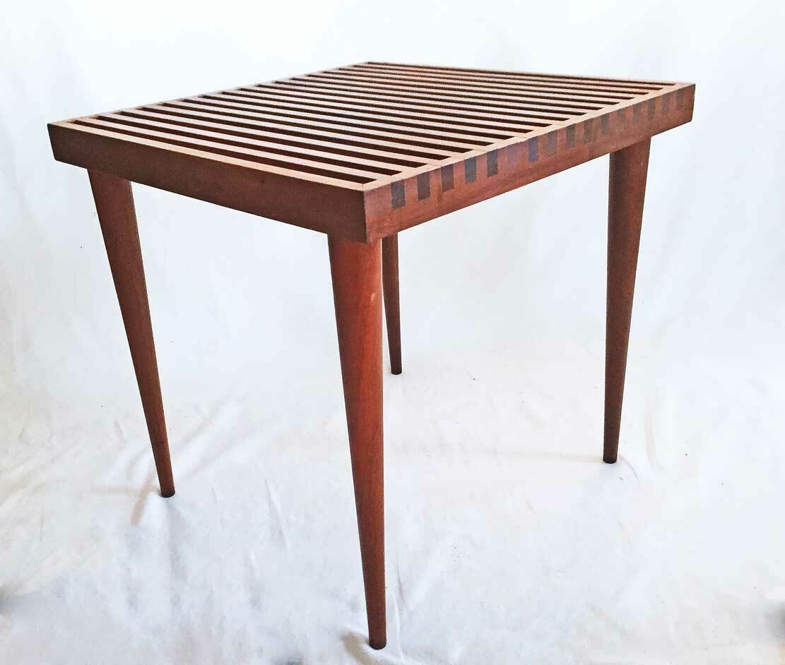 Mel Smilow Mid Century Modern Furniture Vintage Slat Top Table Bench Side Coffee
