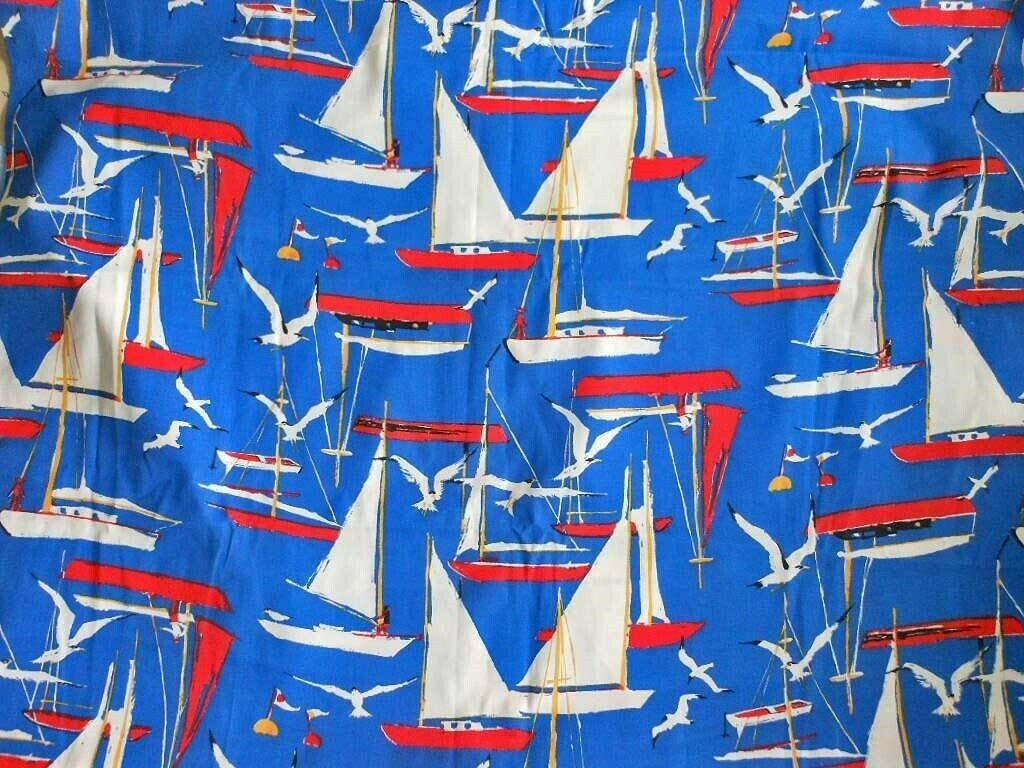Nautical Sailboat Fabric MarineDead Stock with Tag Vintage 70s Yardage 3 Yards