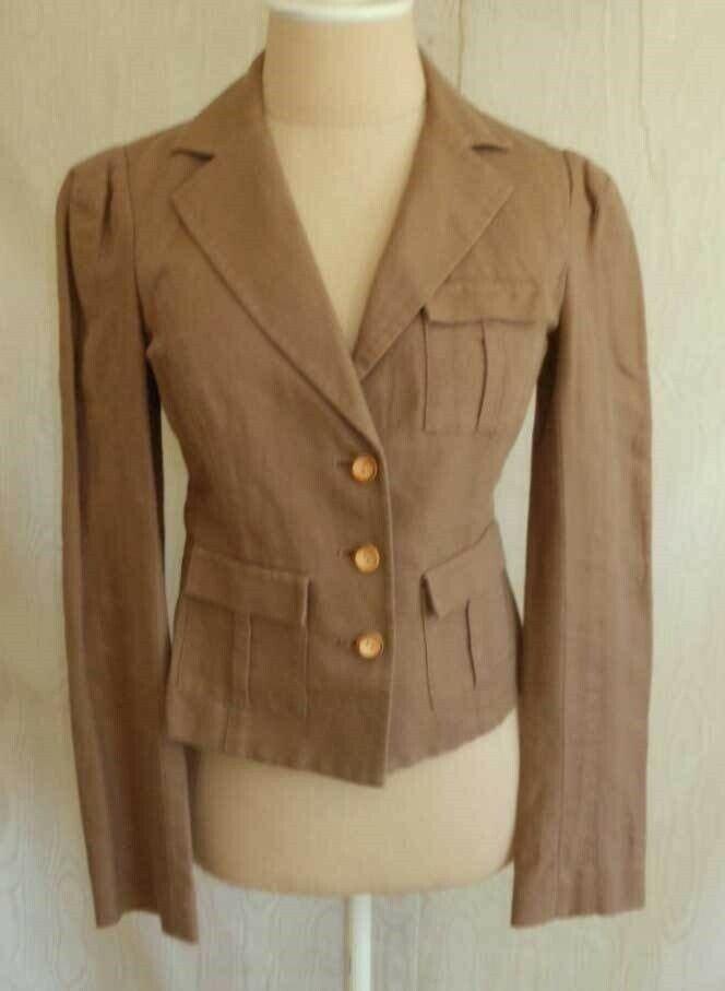 DIANE VON FURSTENBERG DVF Safari Military Jacket Blazer Deadtock Crop Linen 4