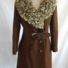 Curly Sheep Fur Wrap Collar Vintage 60s Nos Lush Wide Fit Flare Belted Coat