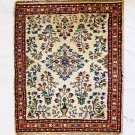 "Vintage Oriental Prayer Rug Carpet 31""x25"" Red Blue Shabby Chic Basket Flowers"