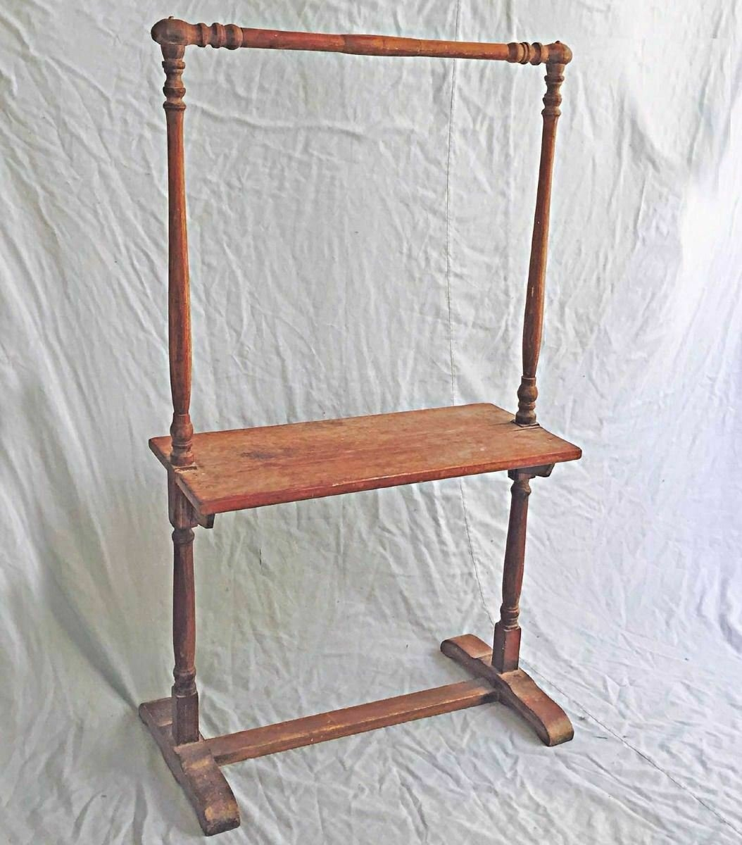 Antique Quilt Rack Table Shelf Stand Display Textile Wood Country Furniture