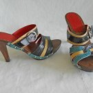 Isabella Fiore Wood Platform Slides Mules Sandals Clogs Multi Color Rainbow 7