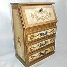 Vintage Italian Tole Music Box Miniature Drop Front Desk Jewelry Wood Gilt Gold