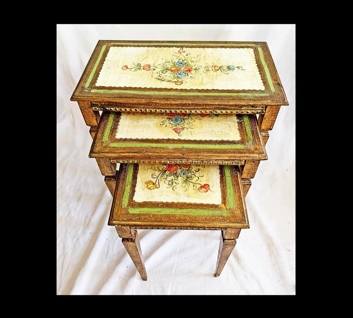Antique Italian Tole Nesting Tables Florentine Hollywood Regency Painted Floral