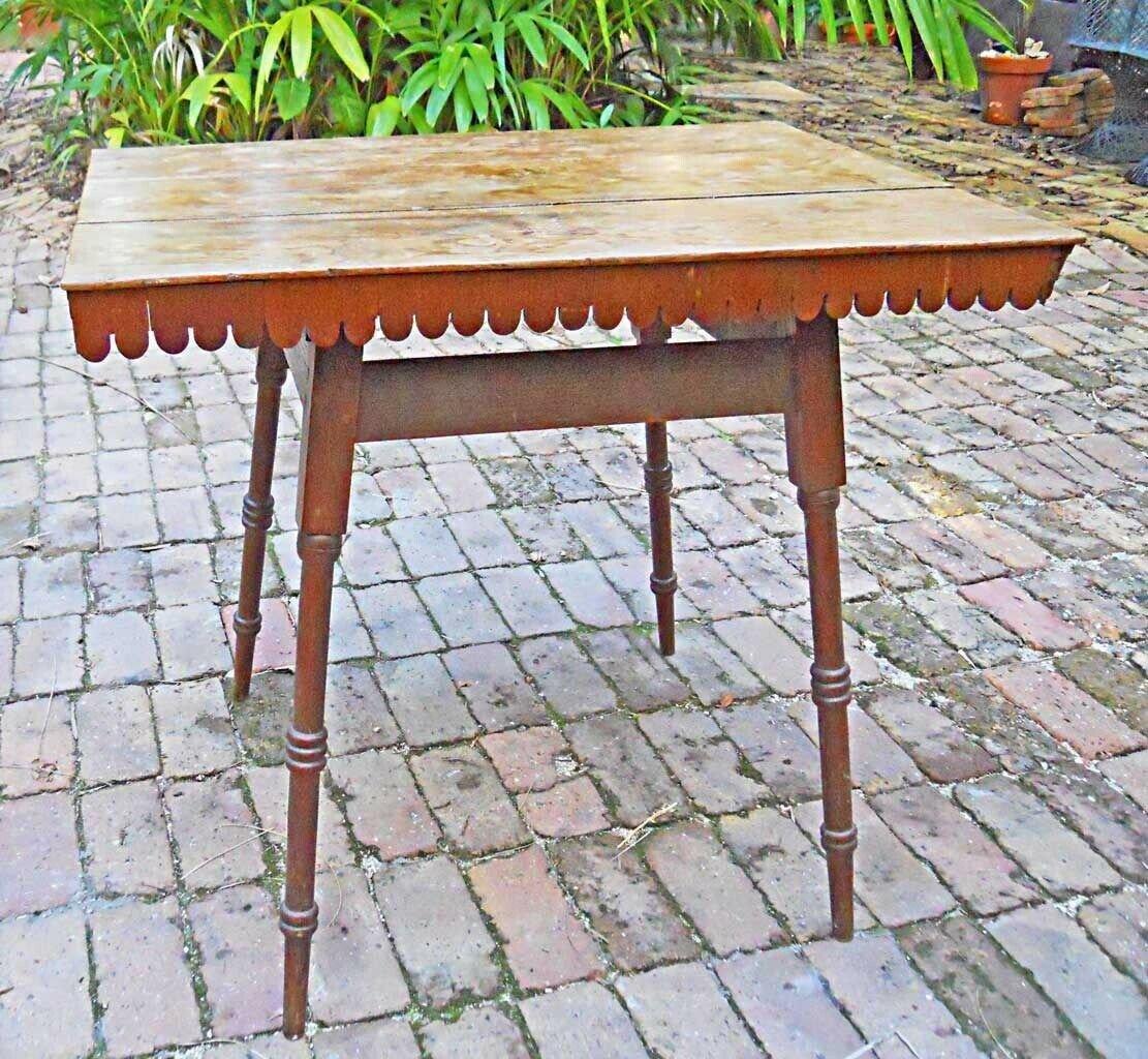 Antique Folk Art Table Country Furniture Primitive Tea Card Carved Legs Rustic