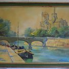 Aguliet Notre Dame Cathedral Painting Paris Vintage Oil Original  Seine France