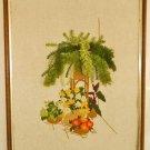 Vintage Needlework Still Life Tropical 3D Cascading Fern Fuzzy Flowers Moderne