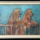 Cocker Spaniels Dogs Antique Folk Art Naive Outsider Vintage Painting  Petersen