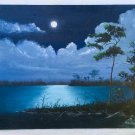 Florida Everglades Vintage Folk Art Original Painting Swamp Full Moon Lazare