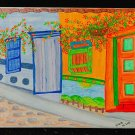 Architectural House Doors Windows Folk Art Outsider Naive Original Painting