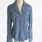 St John Collection Jacket Blazer Dead Stock Vintage Knit  Blue Tweed Tunic NOS 8