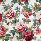 English Roses Interior Fabric Design Vintage Heavy Upholstery Fabric  2+Yard NOS