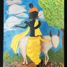 Whimsical Folk Art Vintage Original Painting Black Goat Herder Playing Flute