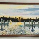 Coleville Vintage Original Painting Florida Creek Sailboat Panorama Folk Art