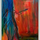 Abstract Fauvism Painting Disproportionate Male Silhouette Vintage Tall Shadow