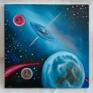 Sci FI Painting Universe ET Space Science Fiction Astronomy Planets Outsider Art