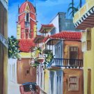 Modern Art Vintage Painting North Africa Street Scene Moorish Architecture Rioza