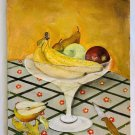 Folk Art Food Painting Naive Vintage Peeling A Pear Country Fruit Still Life