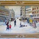 Paris French France Snow Vintage Painting Pontoise Marini 1954  Palatial Frame