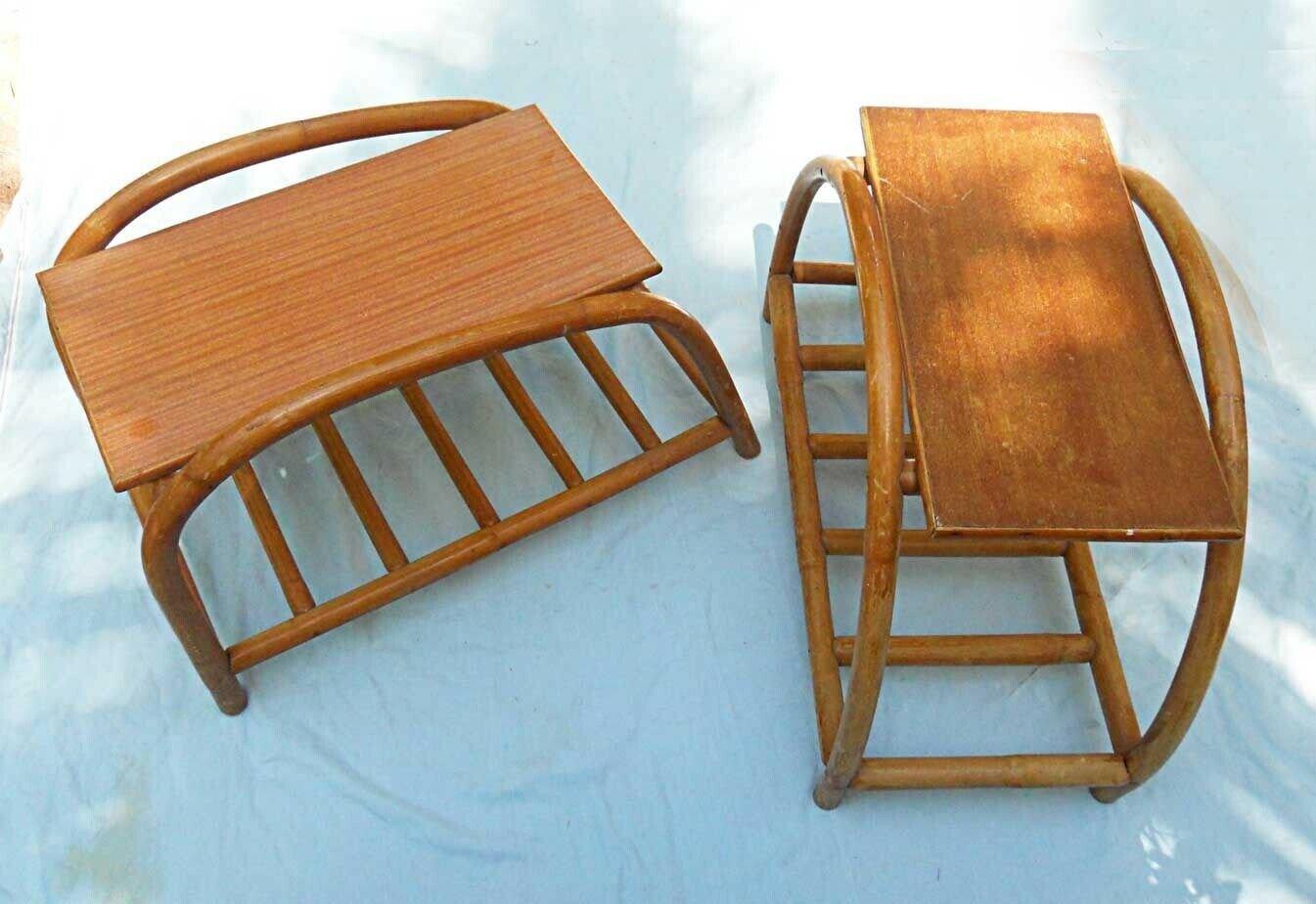 Tables Pretzel Vintage Pair Rattan Tables Century Modern Furniture South Pacific