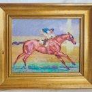 Race Horse Jockey Folk Art Naive Vintage Original Painting Race Outsider Equine
