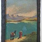 Latin American Folk Art Vintage Original Painting Pack Llama Andes Woman  V Vera