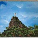 Latin American Painting Christ Rio Brazil Vintage Folk Art Cristo Redentor