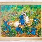 Folk Art Painting Civil War Battle Massacre Antique Rearing Horse Black Soldier