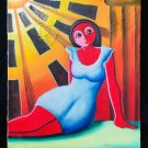 Latin American Cubist Abstract Vintage Original Painting Pedro Ciprian Red Girl