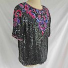Sequin Tunic Vintage 70s Dead Sock with Tag Blouse Top Pearl Black Silk Pink PM