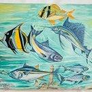 Folk Art Vintage Underwater Original Painting Pelagic Fish Tuna Hunting Deep Sea