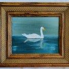 Swan Swimming Vintage Folk Art Outsider Painting Ornithology Naive  Doris 81
